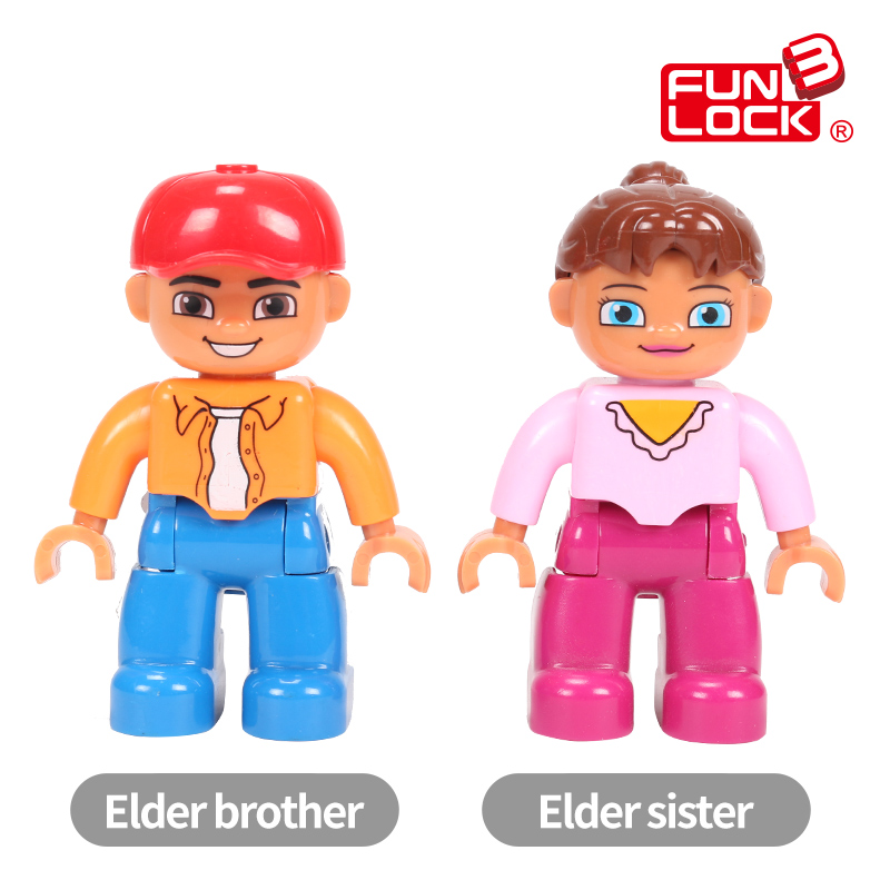 Funlock Duplo Building Blocks Toys Brother Sister Duplo Figure Blocks Role-Play Figure My Family Educational Toys