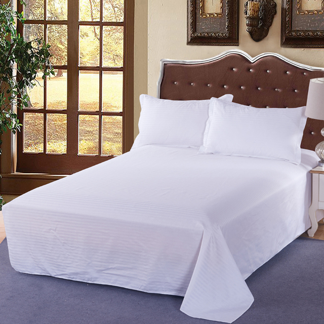 High Quality 100% Cotton Modern Style Hotels Bedding Pure White Satin 3 Pcs Bed  Sheet