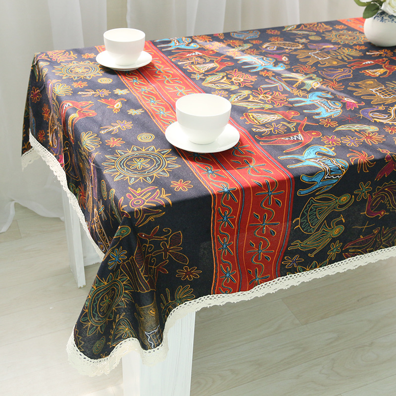 National Style Classic Tablecloth Ethnic Cotton Linen Table Cover Rectangular Multi Functional Table Cloth for Outdoor and Home