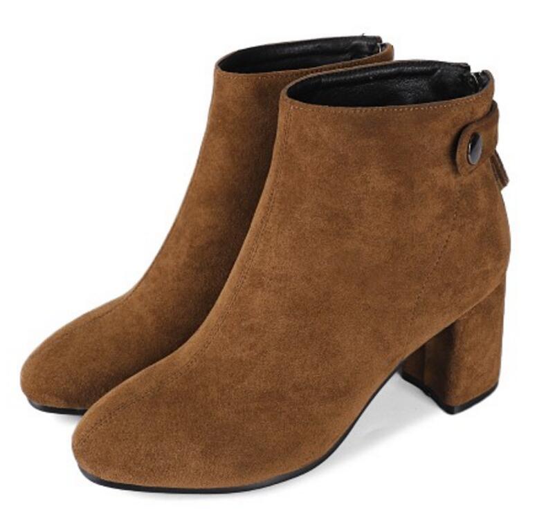 Xz181681 Hauts Sapato Feminino Chaussure Dames Chunky Bottes Chaussons Femme Faux Suede Black Femmes gray Pompes Talons brown Cheville Chaussures Automne Bureau ZiPukX