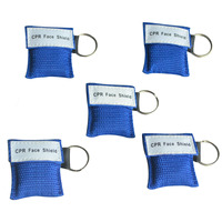 500Pcs CPR Mask Cpr Face Shield One way Valve With Keychain For Emergency Survival Use CPR First Aid Blue Nylon Bag Wrapped