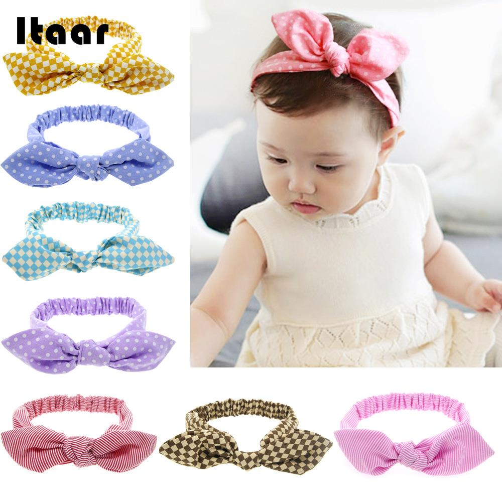 2018 Girl Baby Hair Band Rabbit Ears Headwear Headband Plaid Bow Hairband Turban Knot Headwrap Kid Toddler Hair Band Accessories 13 colors lovely girls print floral rabbit ears hairband turban knot headband hair band accessories