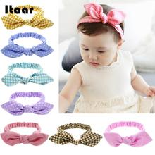 2018 Girl Baby Hair Band Rabbit Ears Headwear Headband Plaid Bow Hairband Turban Knot Headwrap Kid Toddler Hair Band Accessories