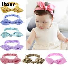 2018 Girl Baby Hair Band Rabbit Ears Headwear Headband Plaid Bow Hairband Turban Knot Headwrap Kid Toddler Hair Band Accessories