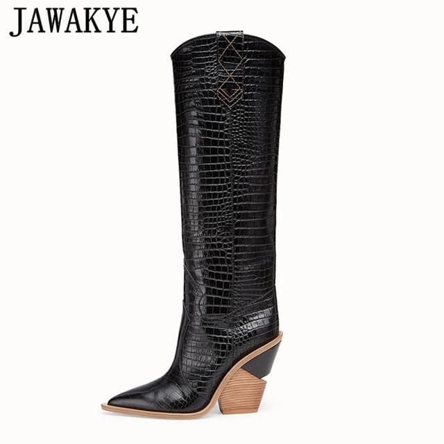 Yeni Yılan Derisi diz yüksek çizmeler mujer Batı Botas Kovboy Çizmeleri kadınlar için pist tasarım Tıknaz Takozlar topuk Orta buzağı Patik