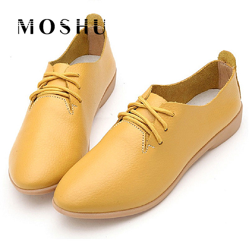 Designer Women Flats Summer Leather Shoes Oxford Soft Bottom Loafers Casual Lace Up Zapatos Mujer