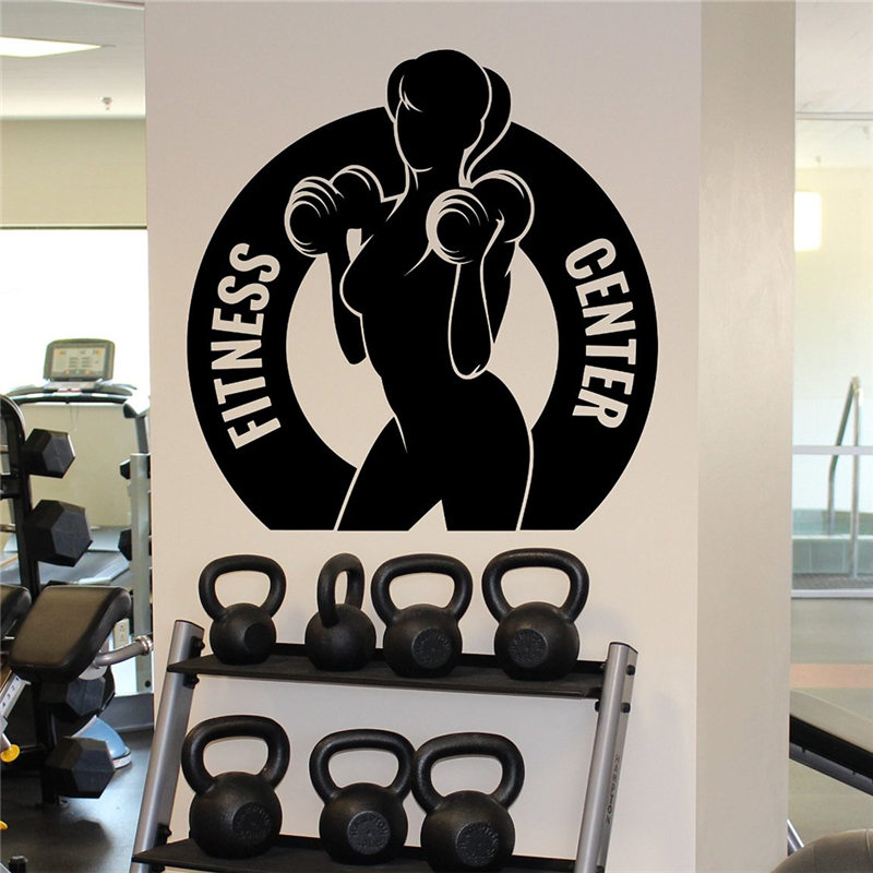 Home Gym Designs For Walls: Fitness Center Wall Sticker Female Gym Sport Vinyl Sticker