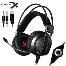цена на XIBERIA V10 Computer Gaming Headset Headband casque with Microphone Mic Heavy Bass Stereo Game Headphone with Light for PC Gamer