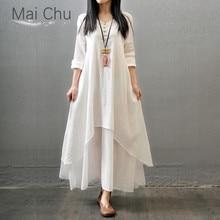 цена на Cotton and Linen Dress Women's Long-sleeved Elegant Dress Loose Large Size Casual Irregular Maxi Dress