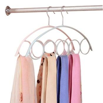 5 Holes Ring Scarf Shawl Scarves Holder Foldable Tie Belt Hook Organizer Weave Hanger Wardrobe Storage Holder Display Rack herramientas para el aseo de la casa