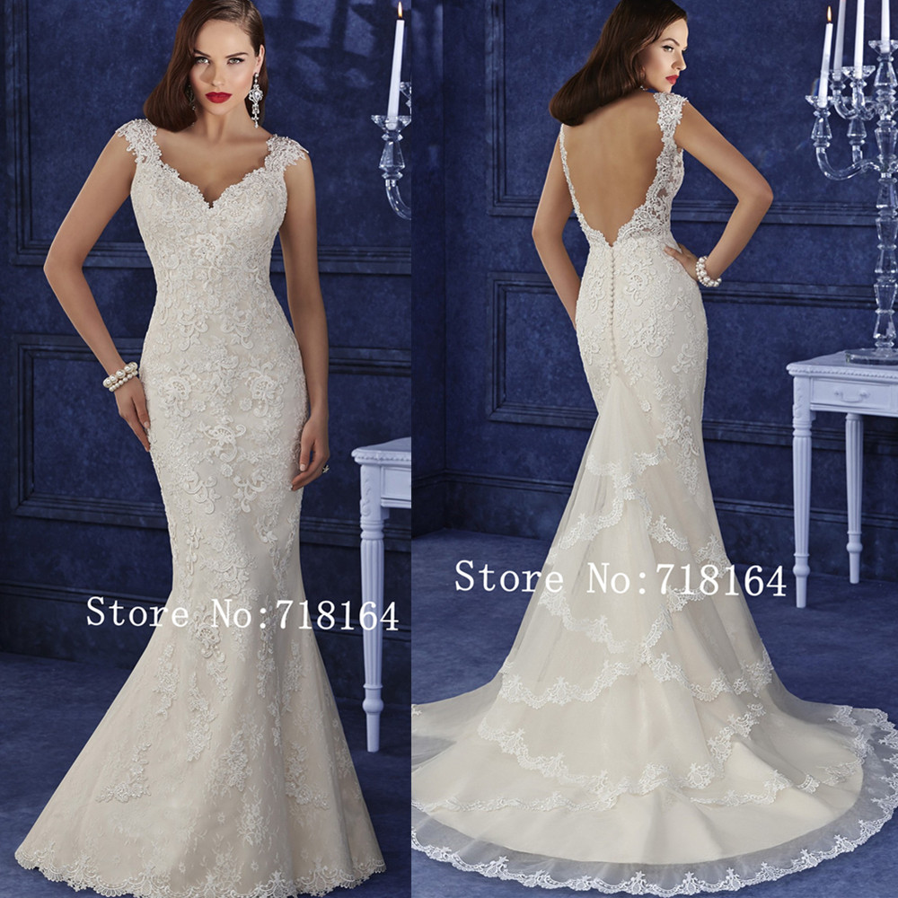 2017 lace mermaid backless wedding dress sexy vestido de for Sexy lace wedding dresses