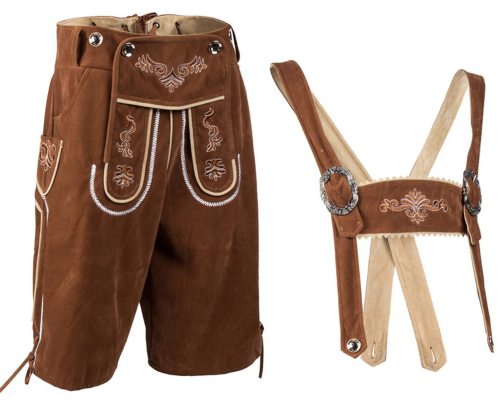 Men's Brown Suede Embroidered Lederhosen German Bavarian Oktoberfest Beer Guy Costumes Suspender Shorts