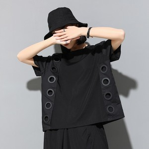Image 3 - CHICEVER Summer Streetwear Balck Solid Patchwork Ring Hollow Out Women T shirt O Neck Short Sleeve Loose Slim Female Tops 2020