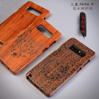 Sam Note 8 Wood Case Natural Wood Luxury Capa Customized Carving Wooden Coque Carving Cover For