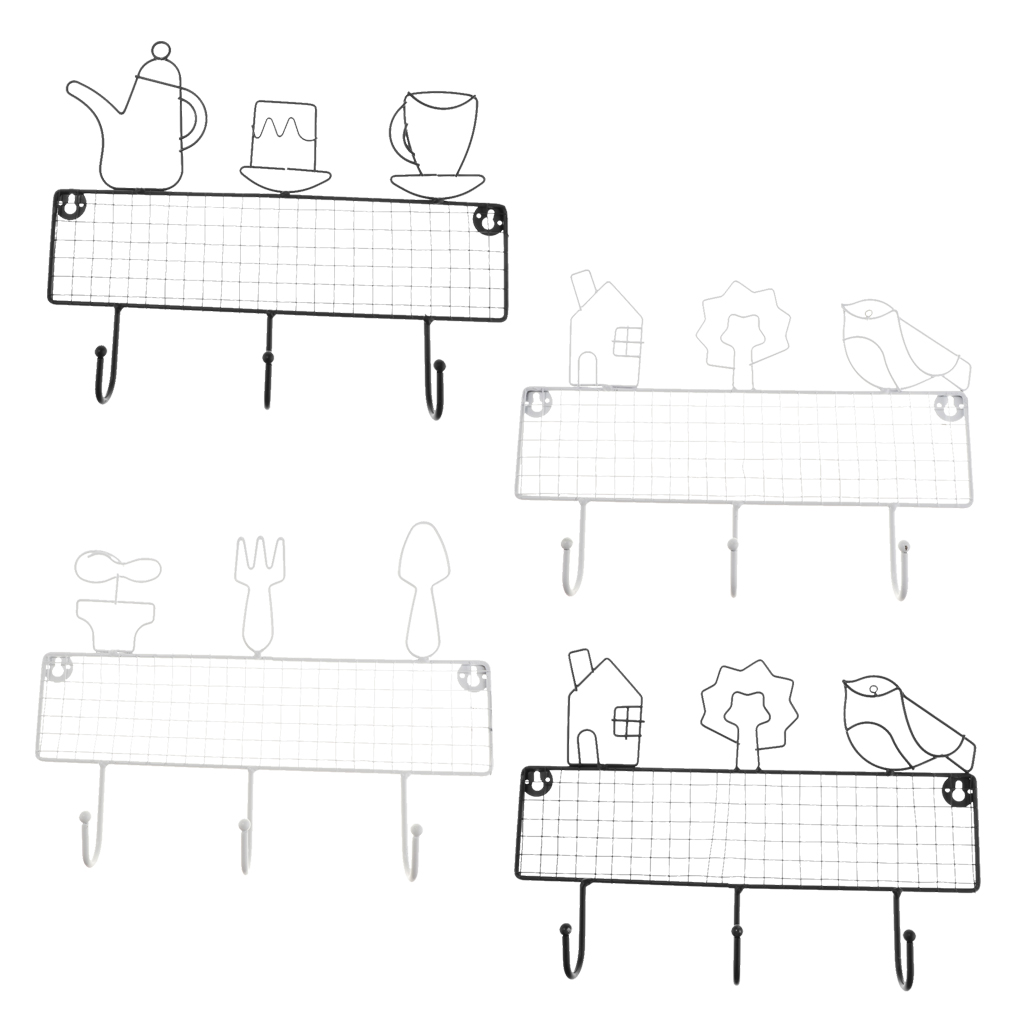 Nordic Wrought Iron Wall Mounted Coat Robe Hook Towel Hanger Rack 3 Hooks Storage Organizer Hooks Rack