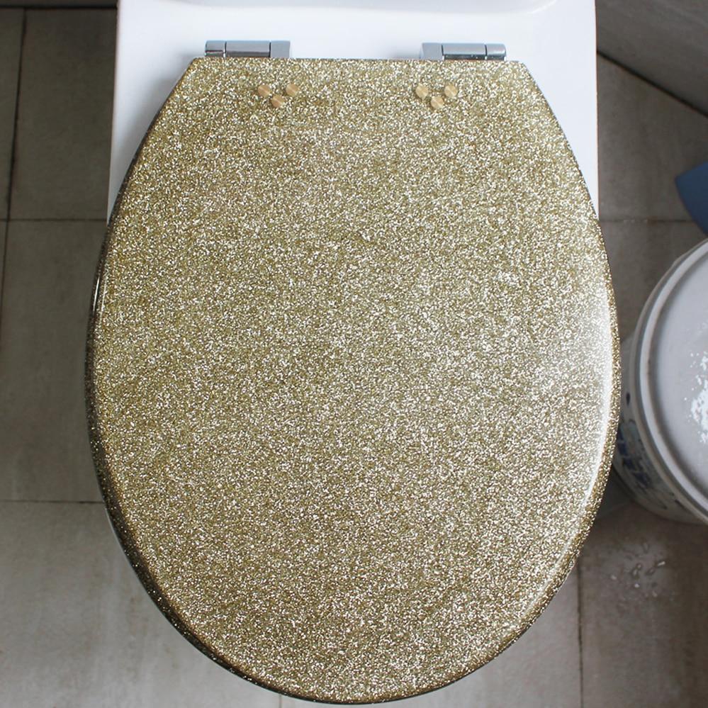 48*38 см высококачественные красивые мерцающие Золотой Смолы крышку унитаза