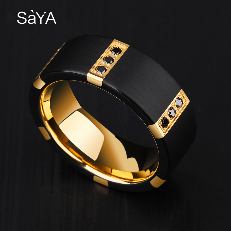 New Arrival 8MM Width Black Tungsten Carbide Rings For Man With Gold Plating Inside Black Color