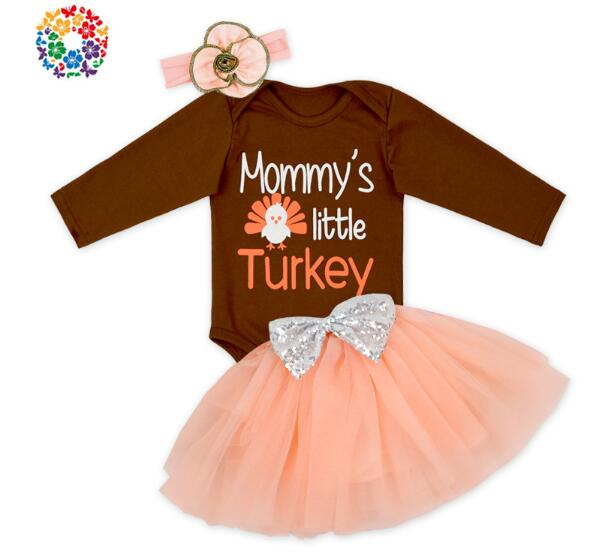 Baby Girls Suits 100% Cotton 2017 Autumn Letters Romper+Skirts+headband Kids Infant 3PCS Sets Halloween Baby Clothing 12pcs/lot