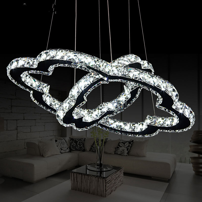 Fashion adjustable crystal pendant lamp for dining room kitchen living room,DIY creative double ring 32+56cm pendant lights a1 master bedroom living room lamp crystal pendant lights dining room lamp european style dual use fashion pendant lamps