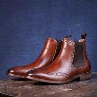 Мужские ботинки «Челси» в британском стиле; сезон осень зима; Ботинки martin из коровьей кожи