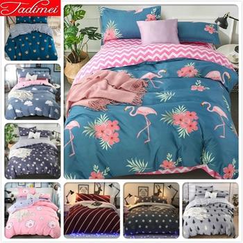 New Flamingo Pattern Quilt Duvet Cover 3/4 pcs Bedding Set Adult Kids Bed Linen Single Twin Full Queen King Size 150x200 180x220