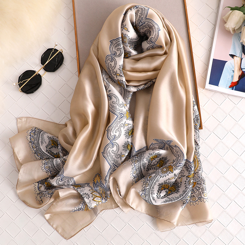 New Silk Scarf Woman 2020 New Soft Long Bandana Solid Simple Shawls And Wraps Ladies Cashew Printed Neck Scarves Winter Hijab