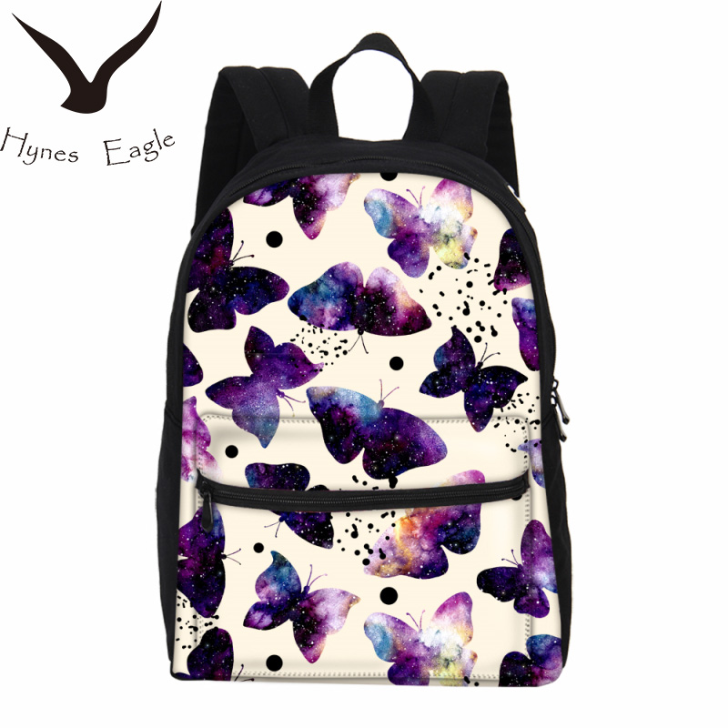 Hynes Eagle Brand Canvas Backpacks Butterfly Printing Backpacks For Women Laptop Backpacks Travel Bag Fashion Casual Backpacks
