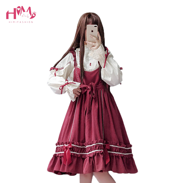 c1aa012015 Japanese Soft Sister Lolita Dress Sweet Ruffle Cute Girls Princess Kawaii  Dress Vintage Big Bow Lace Up Red Summer Strap Dresses