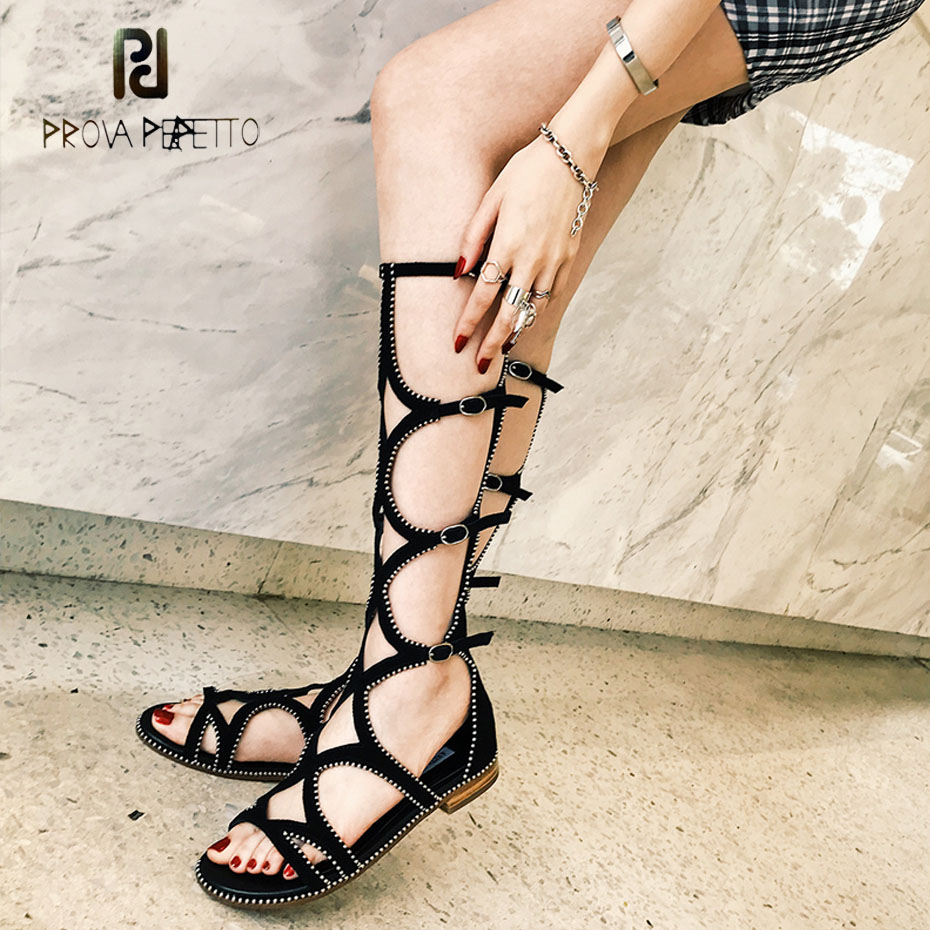 Prova Perfetto suede leather hollow metal beading gladiator sandals back zippers flat heel boot sandal cozy women casual sandals ladylike women s sandals with chunky heel and beading design