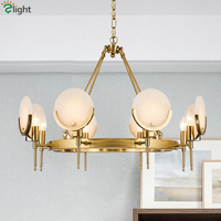 Loft American RH Plate Gold Metal Led Chandelier Mable Round Shape Pendant Chandelier Lighting Lamparas Fixtures For Living Room