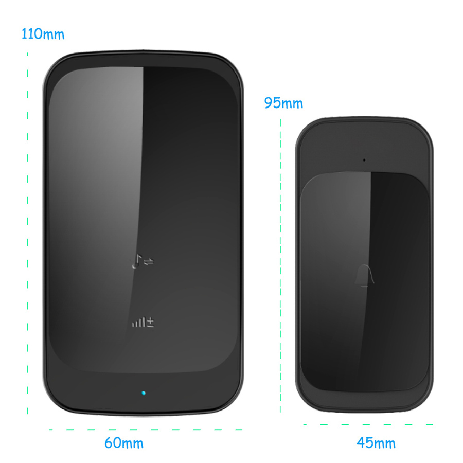 SMATRUL NEW Wireless doorbell NO BATTERY self powered waterproof LED light 51 Music 150M Remote smart Door bell chime EU Plug AC 110-220V 1 Button 2 receiver 7