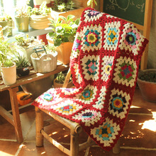hot sale Hand hooked fashion crochet blanket cushion pastoral style gift 65*85cm