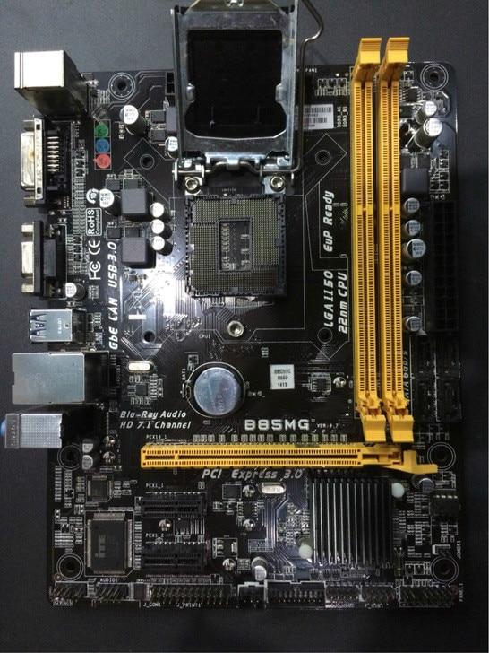 Utilisé, pour Biostar B85MG 1150 B85 toutes les cartes mères solides prennent en charge une gamme complète 1150CPU. Mémoire DDR3, 100% testé bon