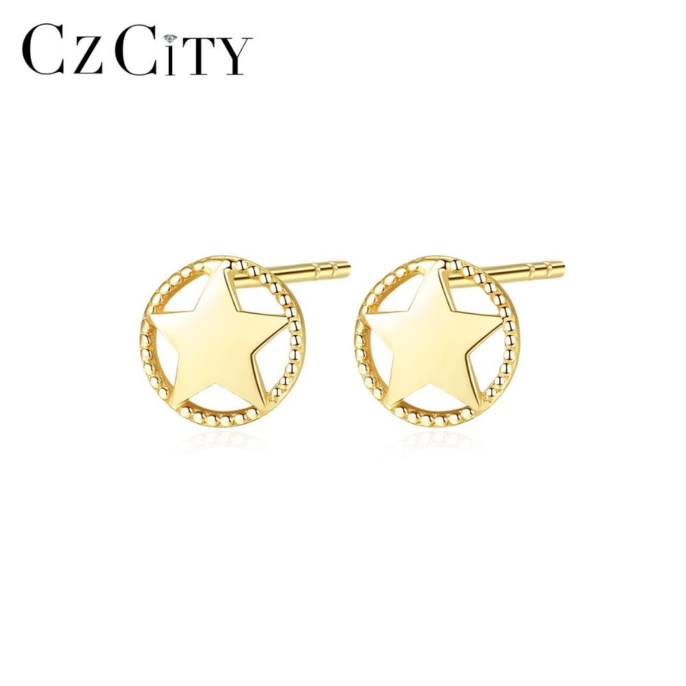 CZCITY Authentic 14K Gold Cute Star Stud Earrings for Women Minimalist Design Party Dating Wearing 14K Yellow Gold Fine Jewelry CZCITY Authentic 14K Gold Cute Star Stud Earrings for Women Minimalist Design Party Dating Wearing 14K Yellow Gold Fine Jewelry