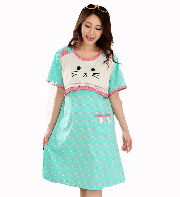 Plus size Kawaii Kitty Pink dots loose pregnant women maternity ...