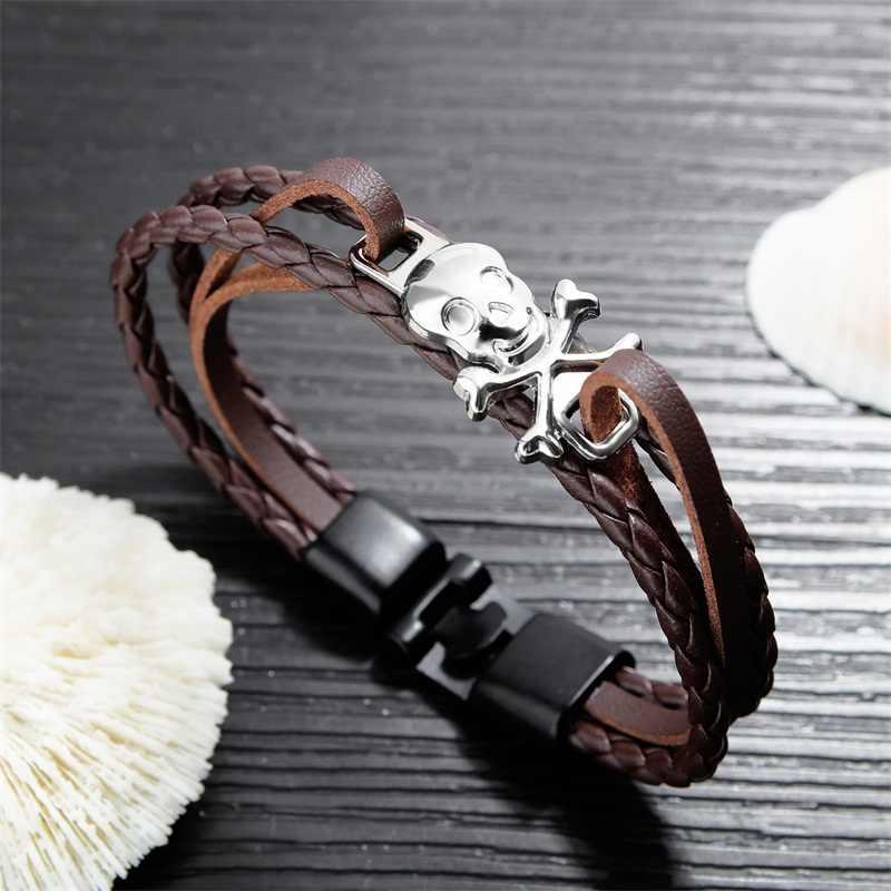 AZIZ BEKKAOUI 4 Colors Punk Stainless Steel Chain Skull Bracelets Genuine Leather Bracelet for Men Jewelry Dropshipping