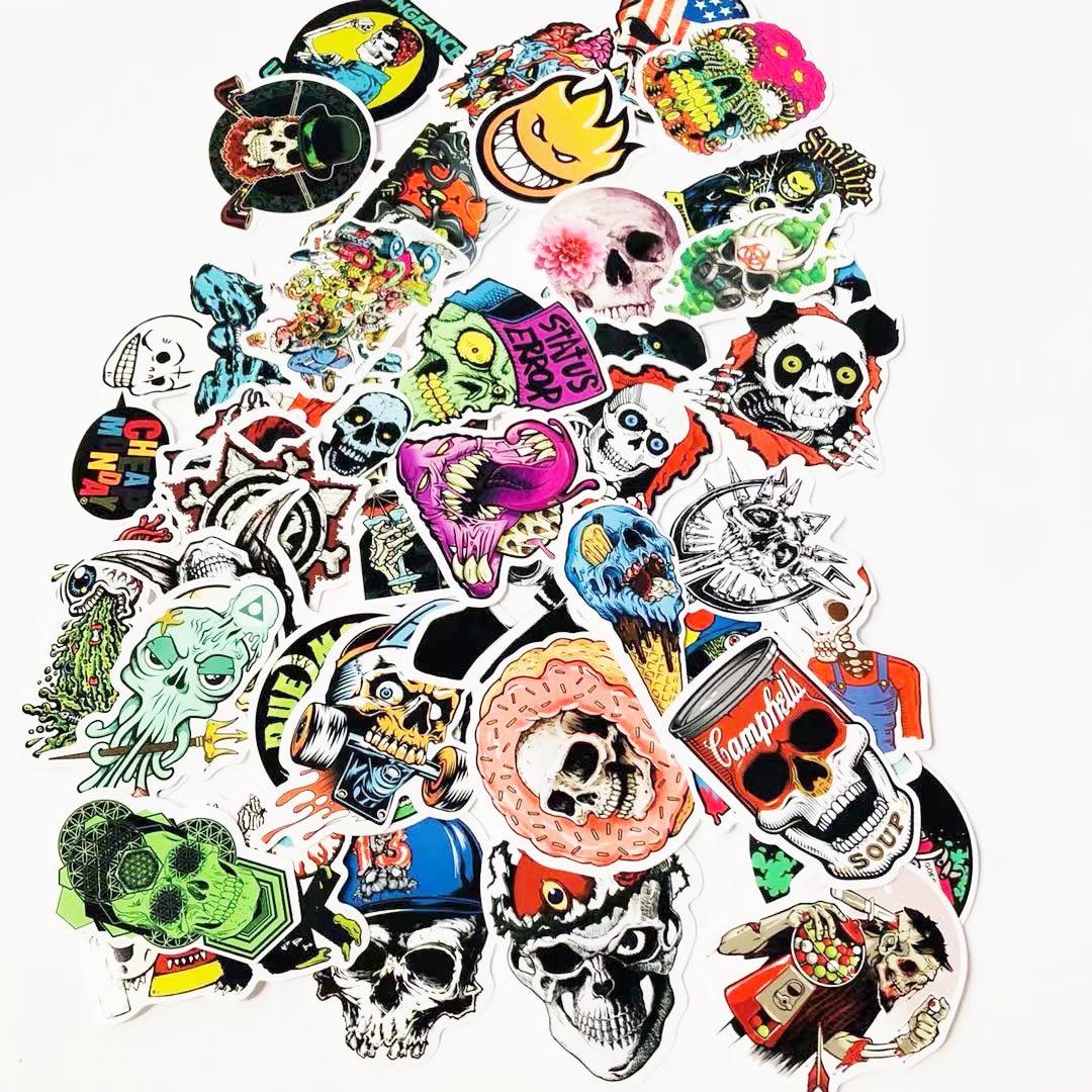 50 Stücke Laptop Aufkleber Graffiti Schädel Vinyl Aufkleber, Motorrad Fahrrad Gepäck Aufkleber Graffiti Patches Skateboard Aufkleber Ohne RüCkgabe
