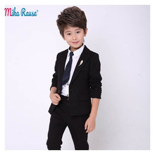 New kids Slim body blazer for boys suits baby boy 2PCS Black casual suits for boy tuxedo children party costume wedding clothes(China)