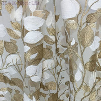 Golden Thread Tree Leaf Embroidered Lace Fabric Milk Silk Fabric 130cm 5yards Luxury Dress Fabric Textured