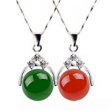 KYSZDL Fashion simple red / green Chalcedony pendant 925 silver necklace sisters crystal jewelry birthday gift wholesale