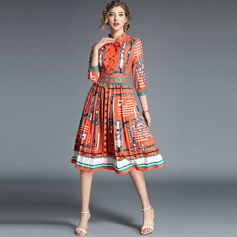High Quality Fashion Designer Runway Dress 2018 Autumn Women s 3 4 Sleeve Vintage Floral Printed