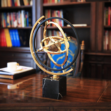 Europe creative Marble metal globe statue home decor crafts room decoration objects office study figurines gifts
