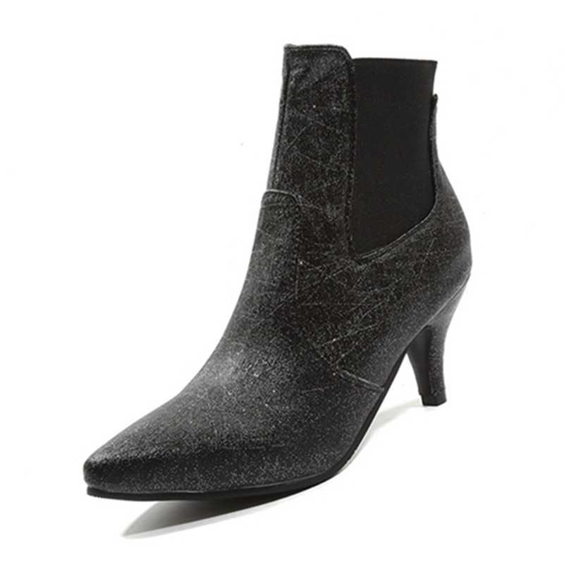 REAVE KEDI Yeni kış Ayakkabı kadın yarım çizmeler Sivri Burun Pu deri yüksek topuk çizmeler Botas feminino mujer katı ayakkabı A1382