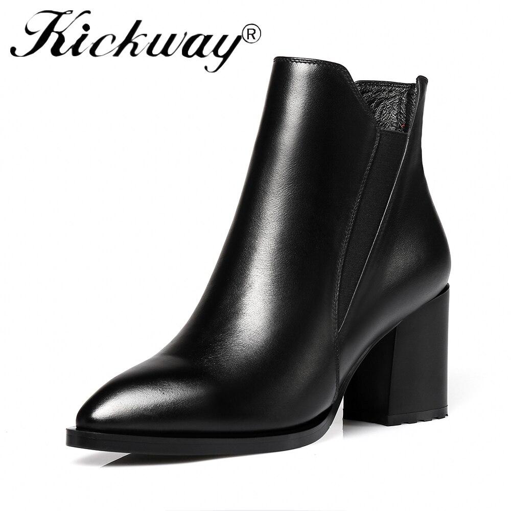Kickway 2018 grande taille 34-42 noir bout pointu femmes chaussures femmes mode talons hauts automne hiver bottines botas mujer