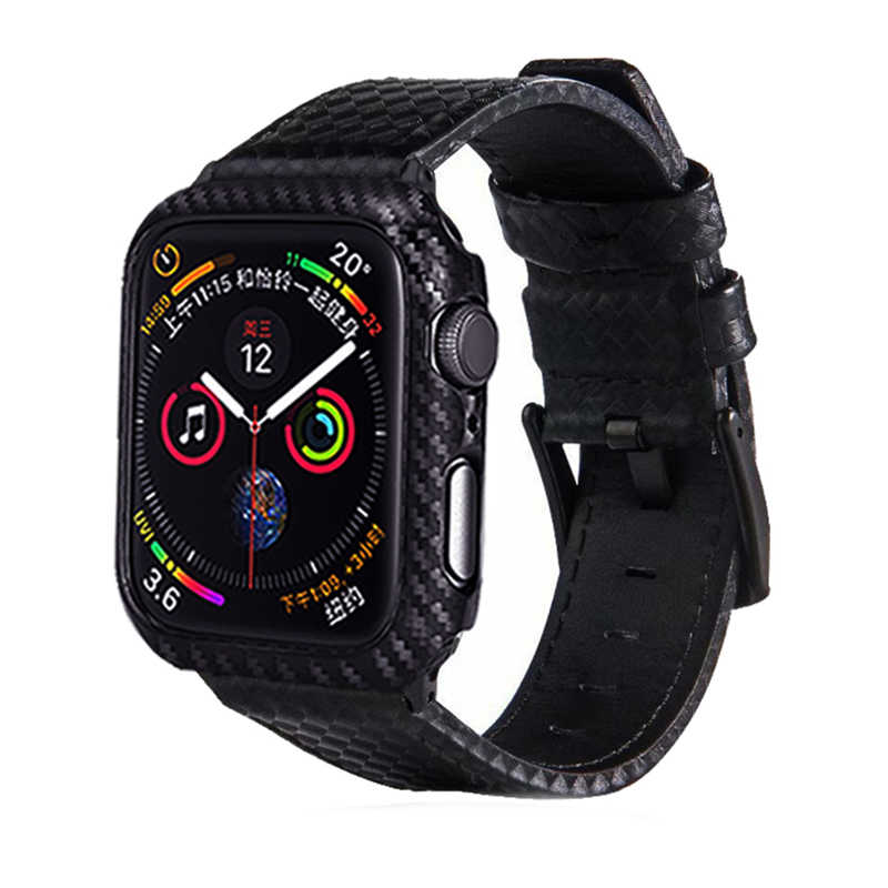 bcf3ae9d2d9e Laforuta Leather Band for Apple Watch 44mm 40mm Carbon Fiber iWatch Strap  44mm 40mm + iWatch