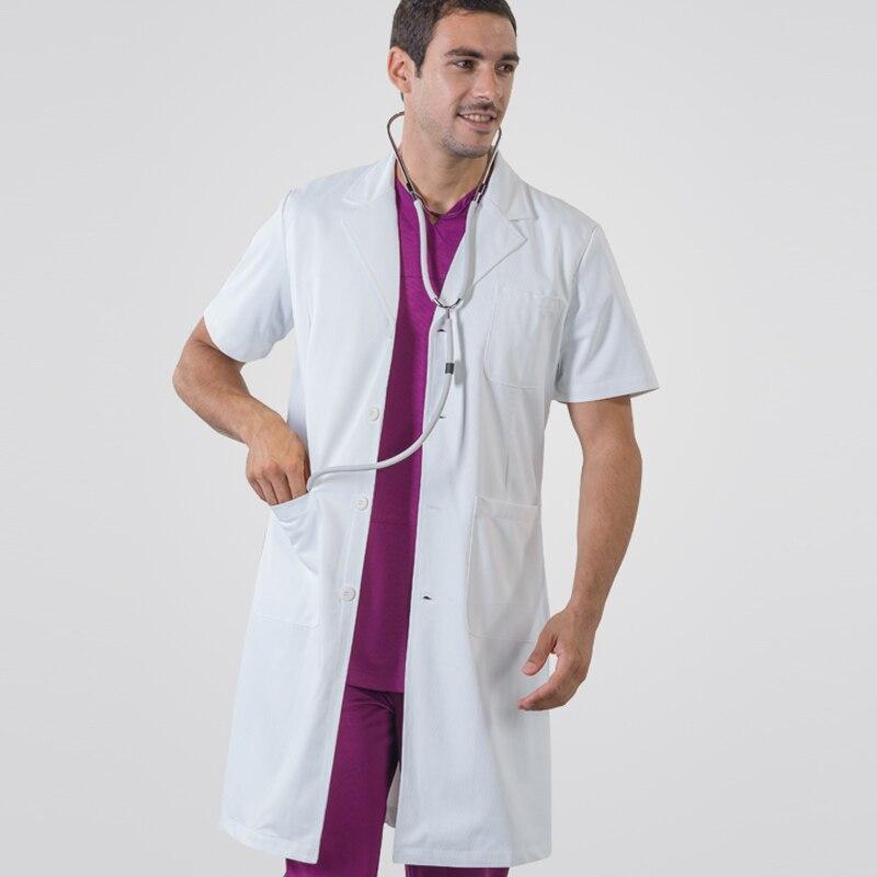 Manteau blanc à manches courtes médecin vêtements femme et homme hôpital médical vêtements étudiant chimique laboratoire infirmière porter salopette - 4
