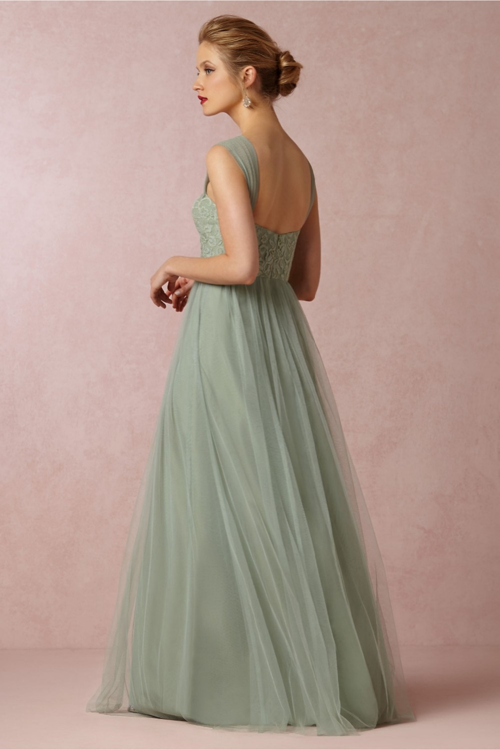 Vintage bridesmaid dresses lace and tulle long mint green vintage bridesmaid dresses lace and tulle long mint green bridesmaid dress two styles vestidos wedding party dress 2016 in bridesmaid dresses from weddings ombrellifo Image collections