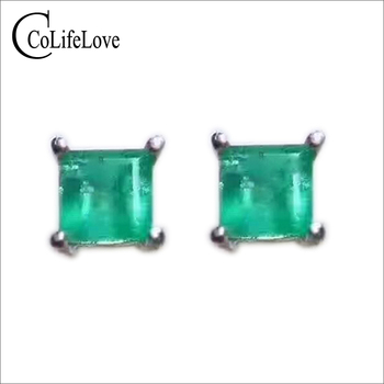 CoLife Jewelry Classic simple emerald stud earrings 3mm natural emerald solid 925 silver emerald stud earrings emerald jewelry фото