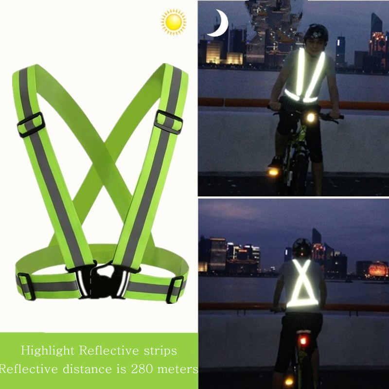 Elasticated Reflective Safety Bicycle Vest Strips Construction Traffic Visibility Security Jacket Reflective Straps Cycling Safe
