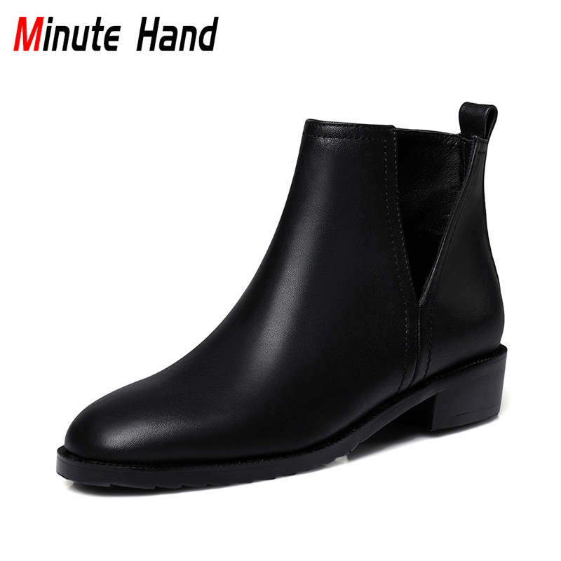 Minute Hand New Fashion Spring Autumn Women Ankle Boots Slip On Casual Shoes Female Square Low Heels Black Booties Plus Size 43 new 2017 men s genuine leather casual shoes korean fashion style breathable male shoes men spring autumn slip on low top loafers